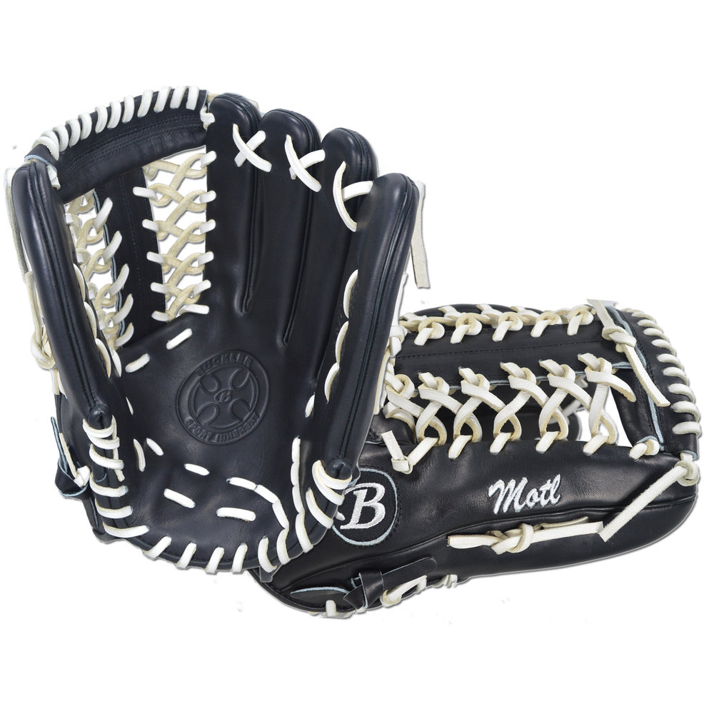 "Custom by Motl ·      Size: 12.75"" ·      Web: T-net ·      Glove Color: Black ·      Lace Color: White ·      Welting: Black ·      Binding: Black ·      Outer Stitch: Black 