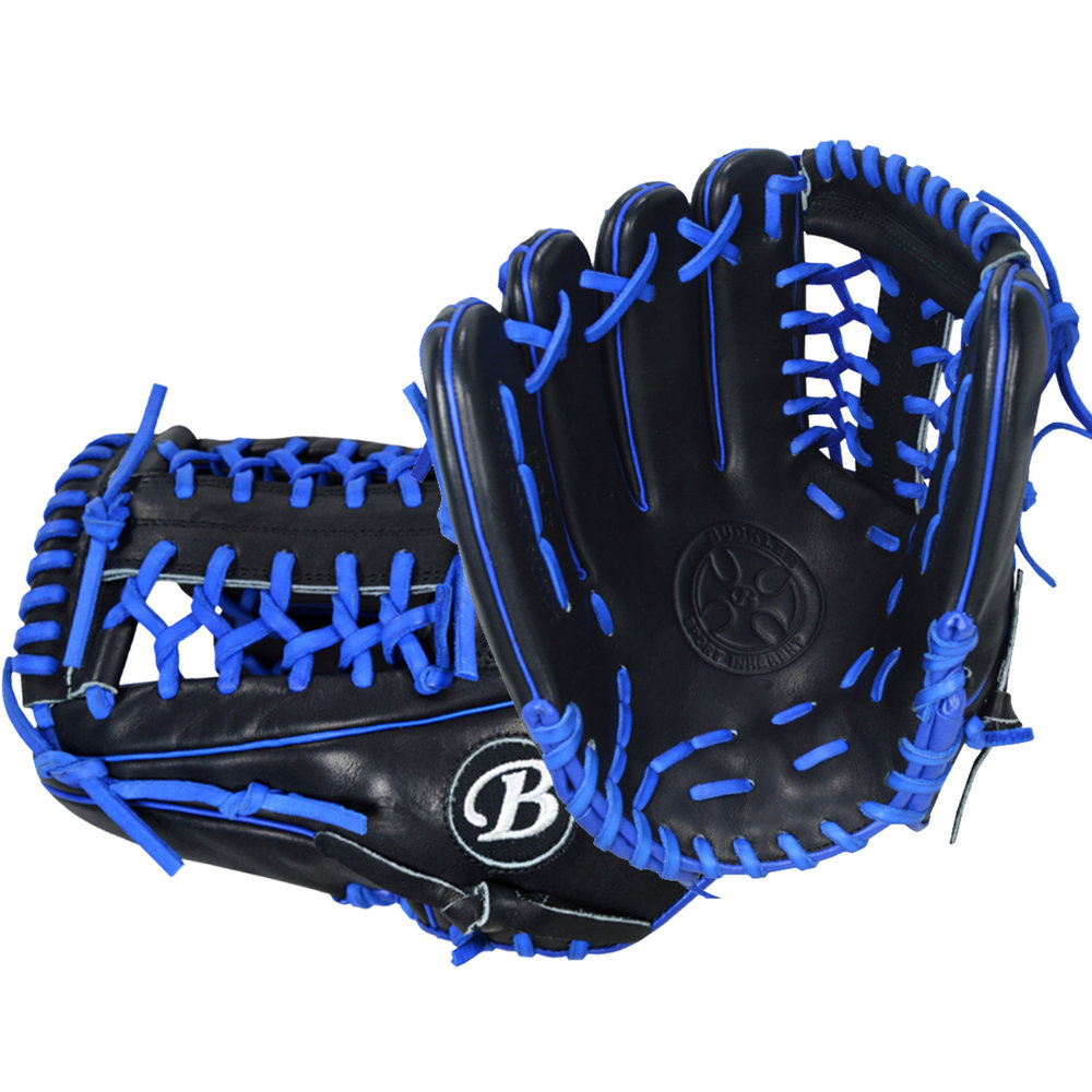 "Custom by Burns   ·       Size : 11.75""  ·       Leather : Premium Texas Steerhide  ·       Web : T-Net  ·       Glove Color : Black  ·       Lace Color : Royal Blue  ·       Welting : Royal Blue  ·       Binding : Royal Blue  ·       Outer Stitch : Black 