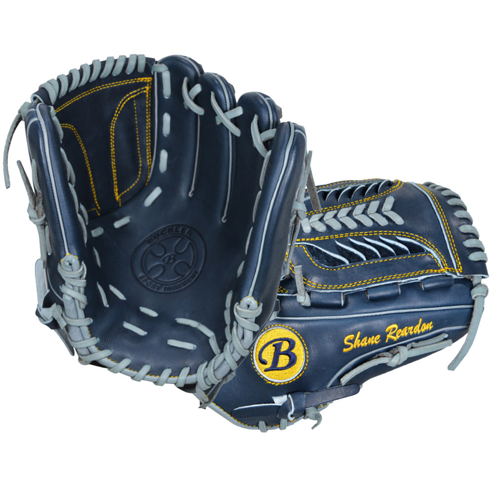 "Custom by   Reardon    ·       Size : 11.5""  ·       Leather : Premium Texas Steerhide  ·       Web : Shark  ·       Glove Color : Navy  ·       Lace Color : Gray  ·       Welting : Gray  ·       Binding : Gray  ·       Outer Stitch : Gold 