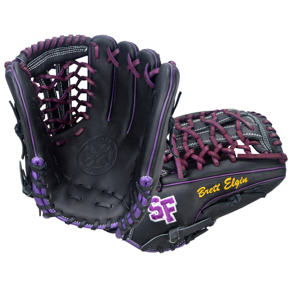 "Custom by   Elgin   ·       Size : 12""  ·       Leather : Premium USA Steerhide  ·       Web : V-Net  ·       Glove Color : Black  ·       Lace Color : Purple  ·       Welting : Purple  ·       Binding : Purple  ·       Outer Stitch : Purple 