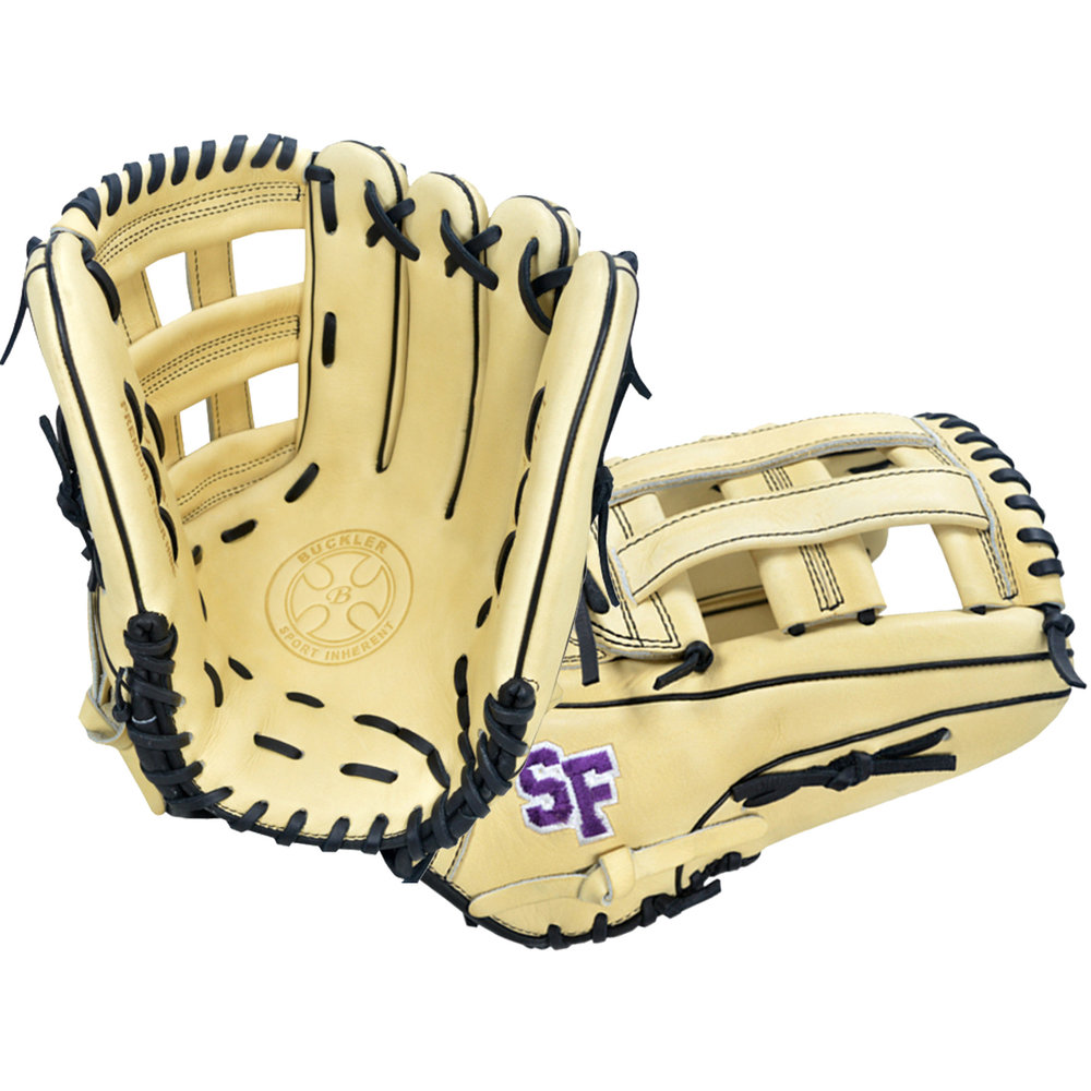 "Custom by Fidone   ·       Size : 12.75""  ·       Leather : Premium USA Steerhide  ·       Web : H-Web  ·       Glove Color : Camel  ·       Lace Color : Black  ·       Welting : Black  ·       Binding : Black  ·       Outer Stitch : Purple 