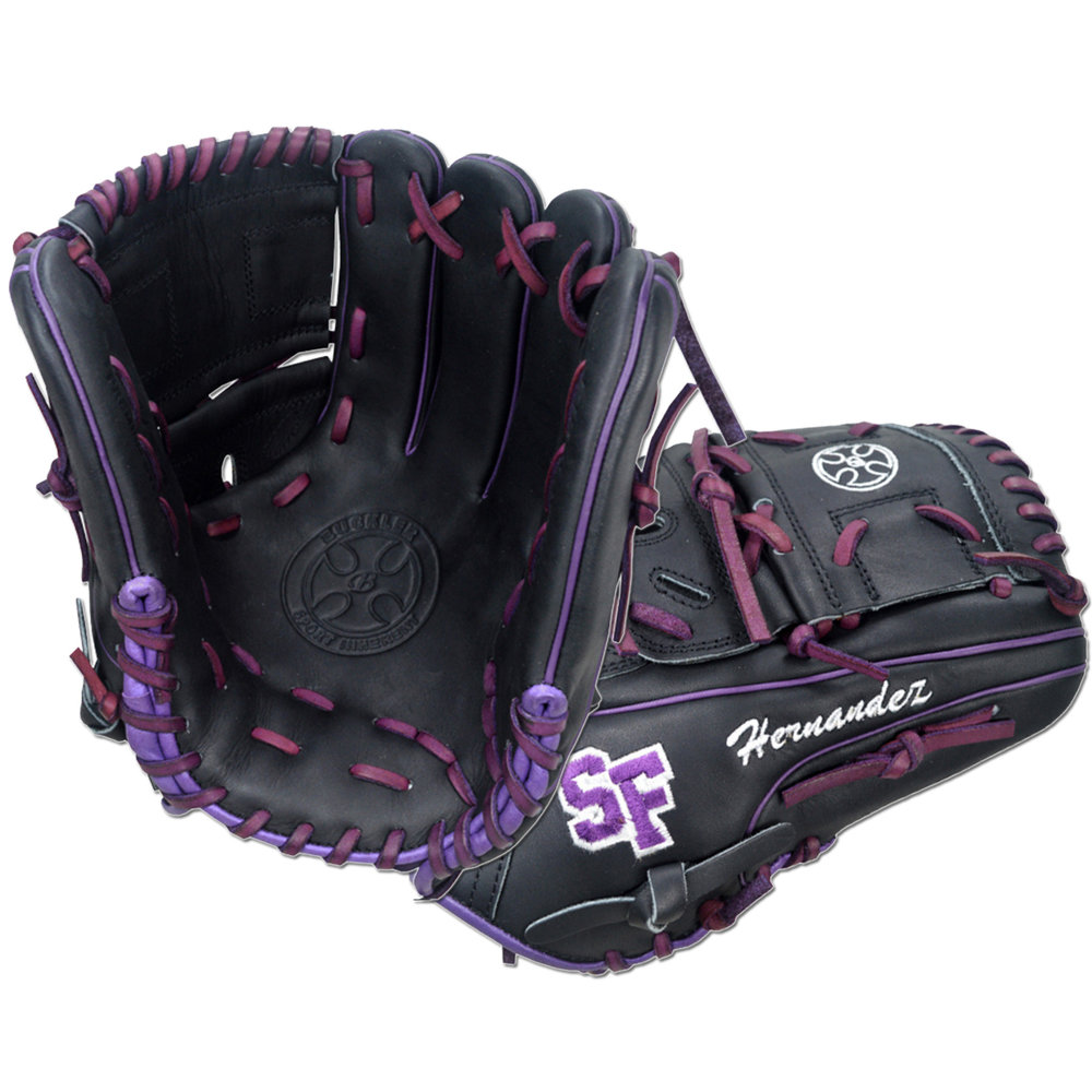 "Custom by Hernandez   ·       Size : 12""  ·       Leather : Premium USA Steerhide  ·       Web : Split-Solid  ·       Glove Color : Black  ·       Lace Color : Purple  ·       Welting : Purple  ·       Binding : Purple  ·       Outer Stitch : Purple 