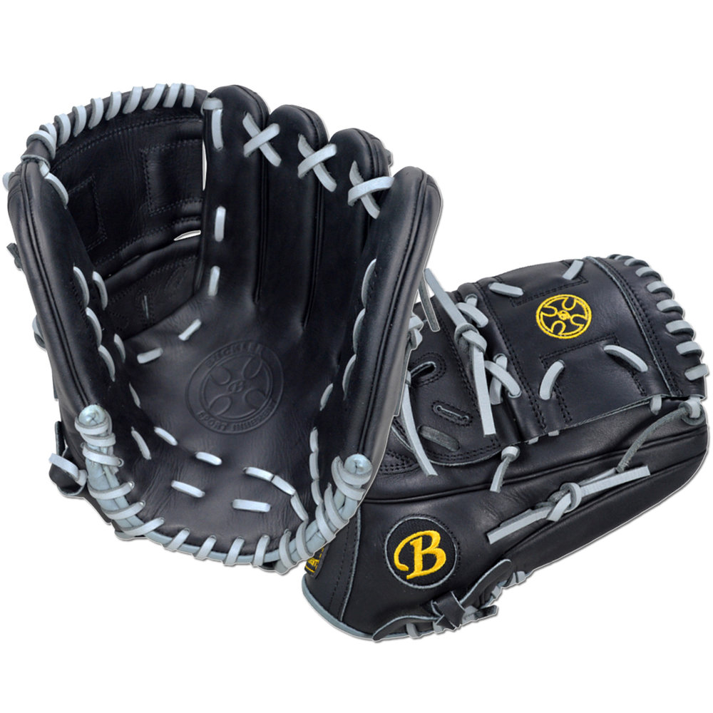 "Custom by Loretz   ·       Size : 12.25""  ·       Leather : Premium USA Steerhide  ·       Web : Split-Solid  ·       Glove Color : Black  ·       Lace Color : Gray  ·       Welting : Black  ·       Binding : Gray  ·       Outer Stitch : Black 