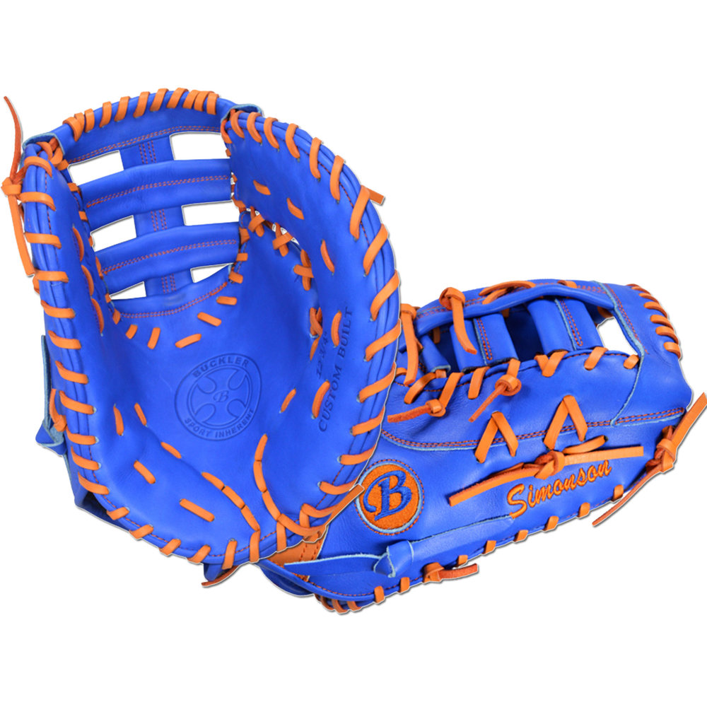 "Custom by Simonson   ·       Size : 12.75""  ·       Leather : Premium Texas Steerhide  ·       Web : Triple Post  ·       Glove Color : Royal Blue  ·       Lace Color : Orange  ·       Binding : Royal Blue  ·       Outer Stitch : Royal Blue 