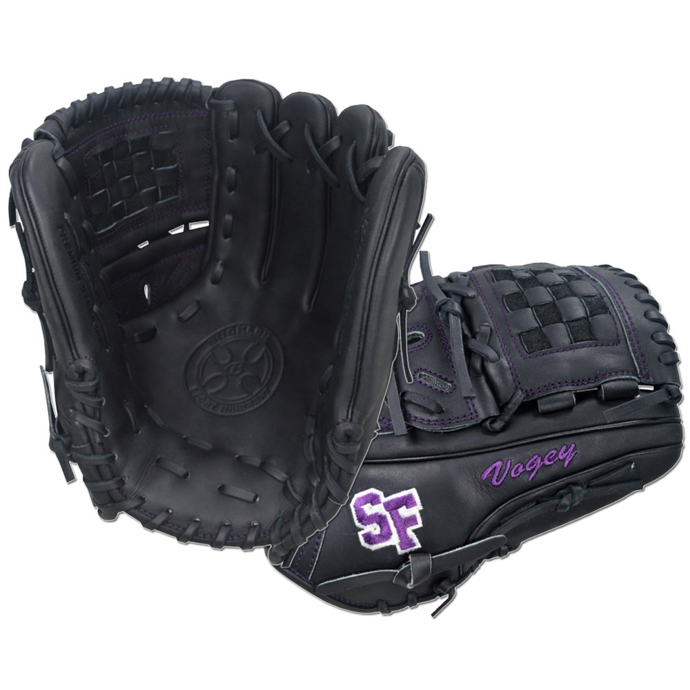 "Custom by Vogenthaler   ·       Size : 11.75""  ·       Leather : Premium USA Steerhide  ·       Web : Split-Basket  ·       Glove Color : Black  ·       Lace Color : Black  ·       Welting : Purple  ·       Binding : Purple  ·       Outer Stitch : Purple 