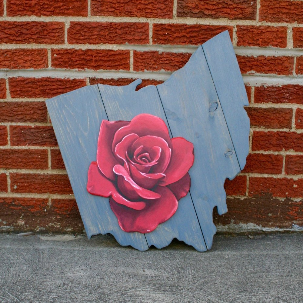 Original Rose Print Plaque on Ohio Pallet