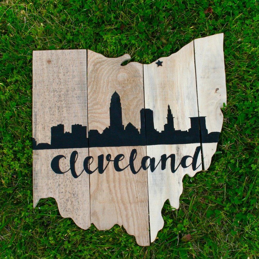 Raw Wood Cleveland Skyline