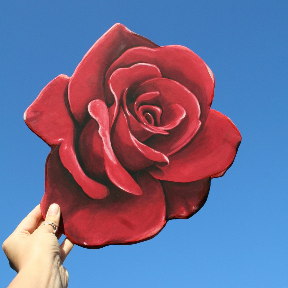 wooden Rose plaque that can be an awesome statement piece in a wall gallery or can be applied to a wood Ohio shape or any other states