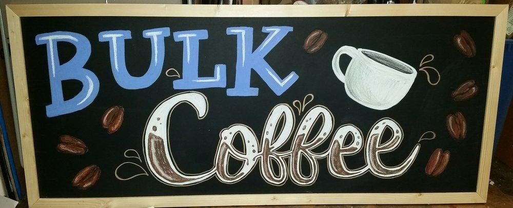 bulk coffee chalkboard inside the strongsville market district
