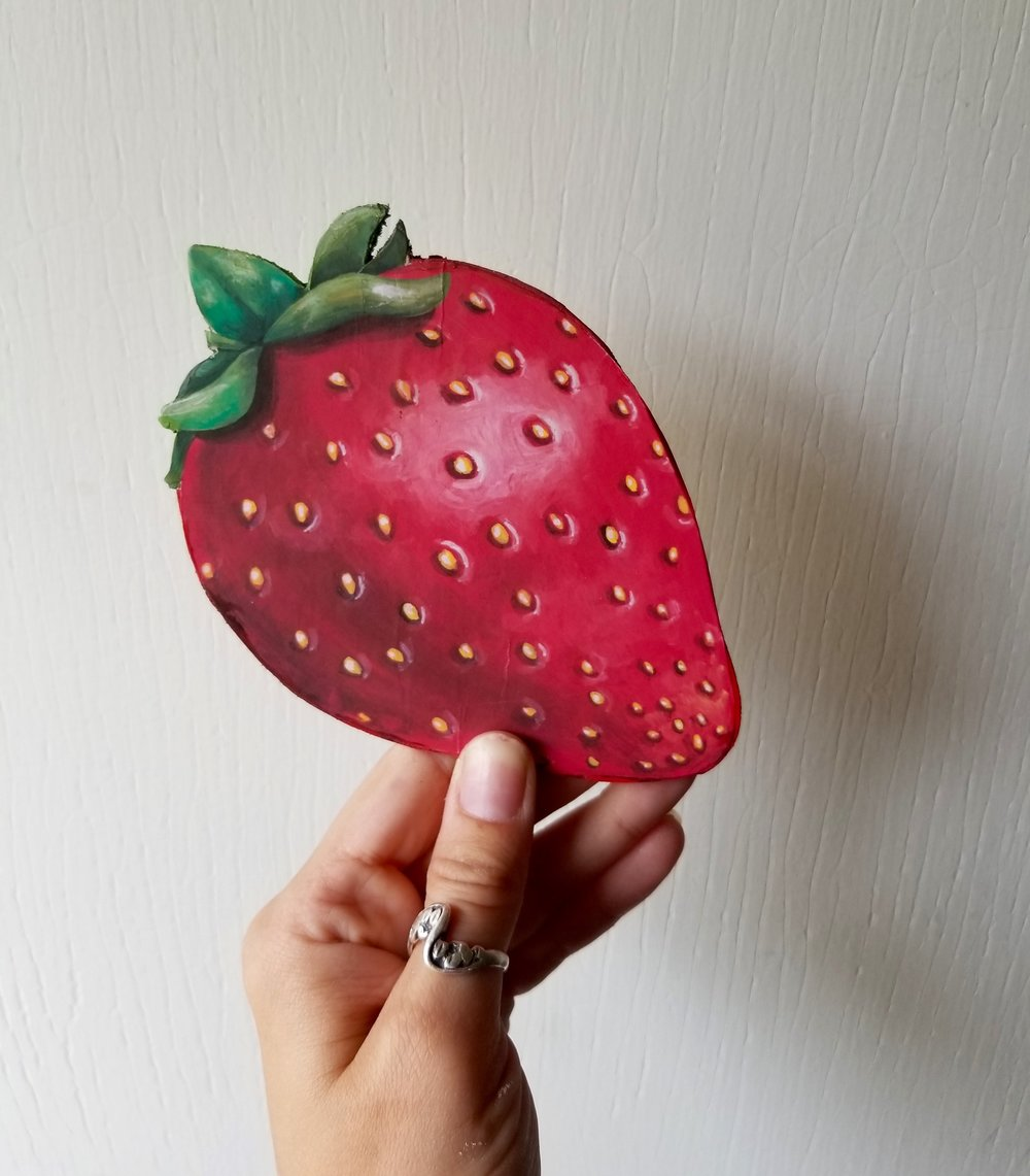 """wooden strawberry plaque that fits sweetly on a """"i love you berry much"""" pallet sign"""