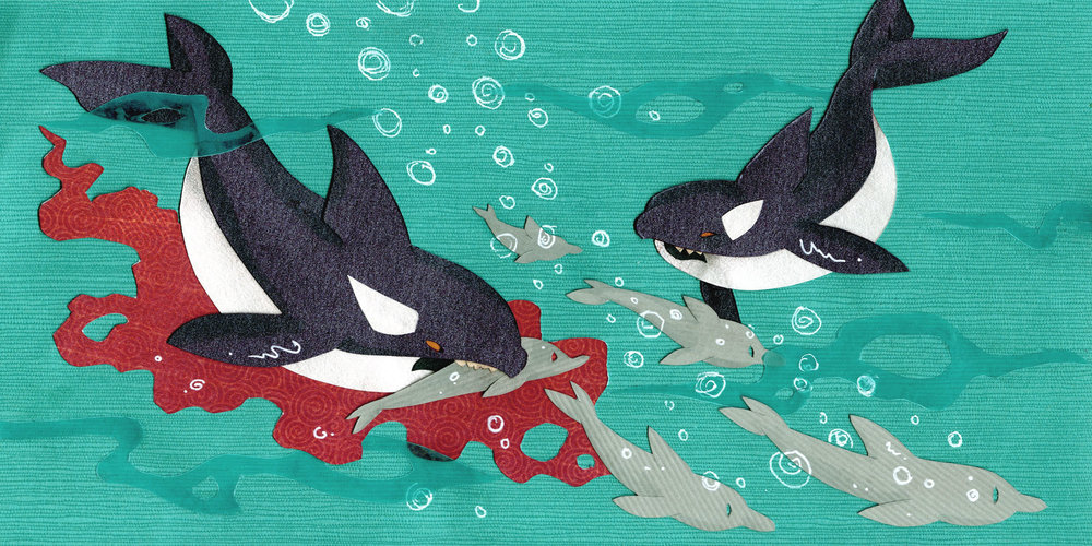 Orcas hunting. paper-cut illustration.
