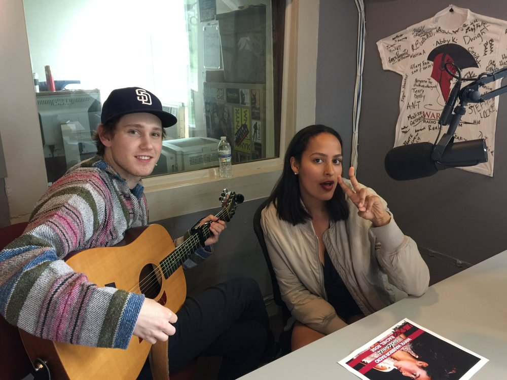 "Rachel at 88.7 Nyack College radio for an interview and performance of an acoustic version of her single, ""Dancing In The Palm Of Your Hand,"""