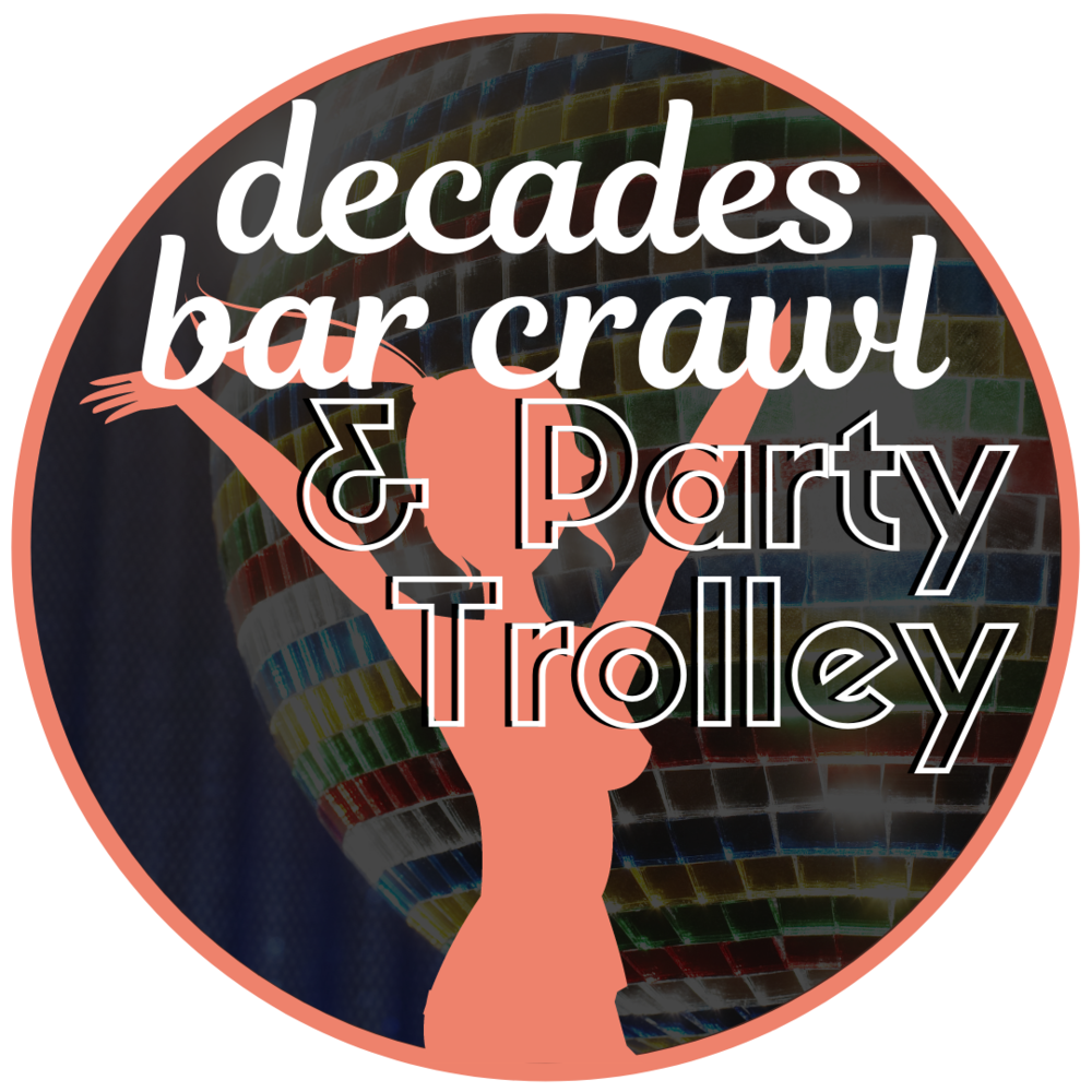 April 26th : 8-11pm - Come dressed in your favorite decade and crawl not just from bar to bar, but from decade to decade! The party doesn't stop once you've hit the street. The Lighted Party Trolley will be making stops at all your favorite bars from Broadway to Main Street from 8-11pm.Click below to reserve your pass now and they will be available for pickup at the Great Girlfriend Headquarters from Friday 4/26 10am-7pm at Java Jive.