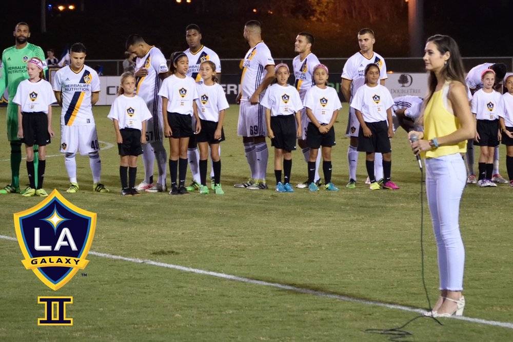 Singing the National Anthem at an LA Galaxy II game