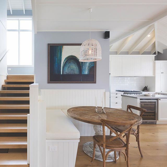 Designed for a clients beach home this breakfast nook adds a cosy feel to an open plan living space. #kitchendesign #interiordesign #insightarchitecture #breakfastnook