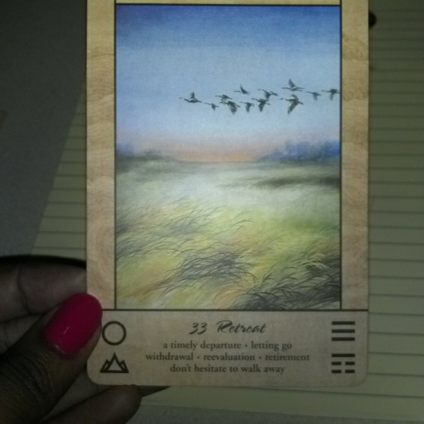 tao oracle tarot card 33 retreat