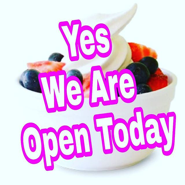 Yes Are Open Today!! • • • • •  #yogurtplaceny #merrickroad #nyceats #longisland #flauntyourflavor #froyo #foodlover #only8 #8calories #anytimefood #comfortfood #treatyourself #theyogurtplacebellmore #longislandeat #picoftheday #amazing #foodie #theyogurtplace #frozenyogurt #healthnut #dairyfree #vegan #glutenfree