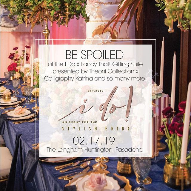We're excited to announce the #idobridalevent #bridal #giftingsuite will be styled by the most amazing #weddingswag ! The first 300 brides attending the event will receive a complimentary access pass to the space sponsored by @californiaweddingday @theknot @theonicollection @lovellabridal and so many more!