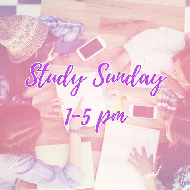 Open Study Time every Sunday from 1-5pm! All high school students are invited! Tutors are available to answer questions. Snacks & drinks provided!