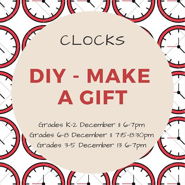 Join us for some engineering design fun as we make our own clocks to take home! You can keep it for yourself; it would also make a great holiday gift! Bring your creativity!
