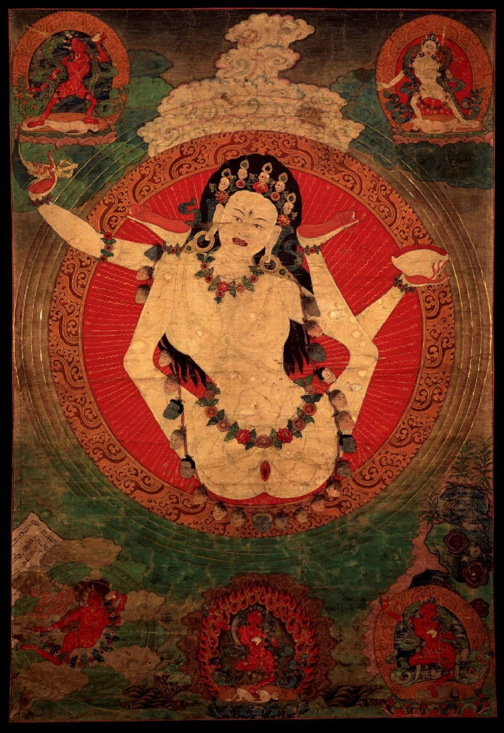 Thangka painting of Vajrayogini in the form of Kachod Karmo, artist unknown.