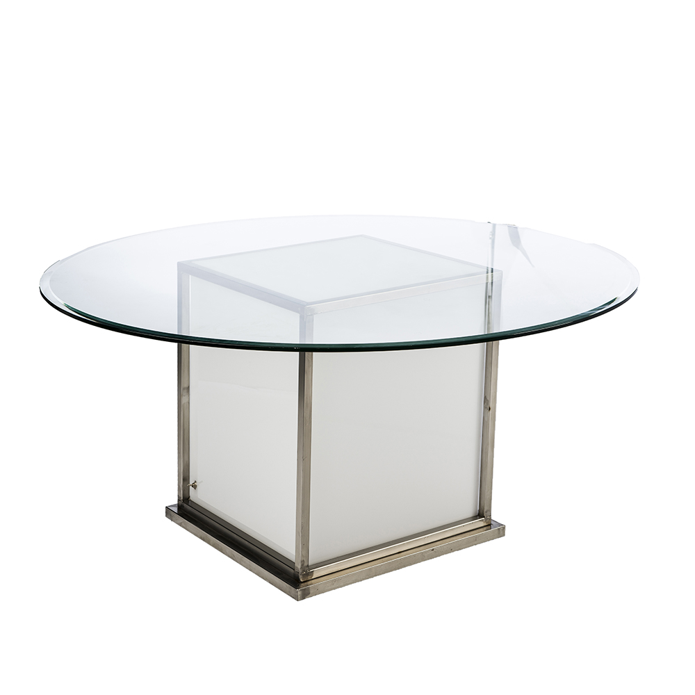 GLOW TABLE BASE GLASS TOP -