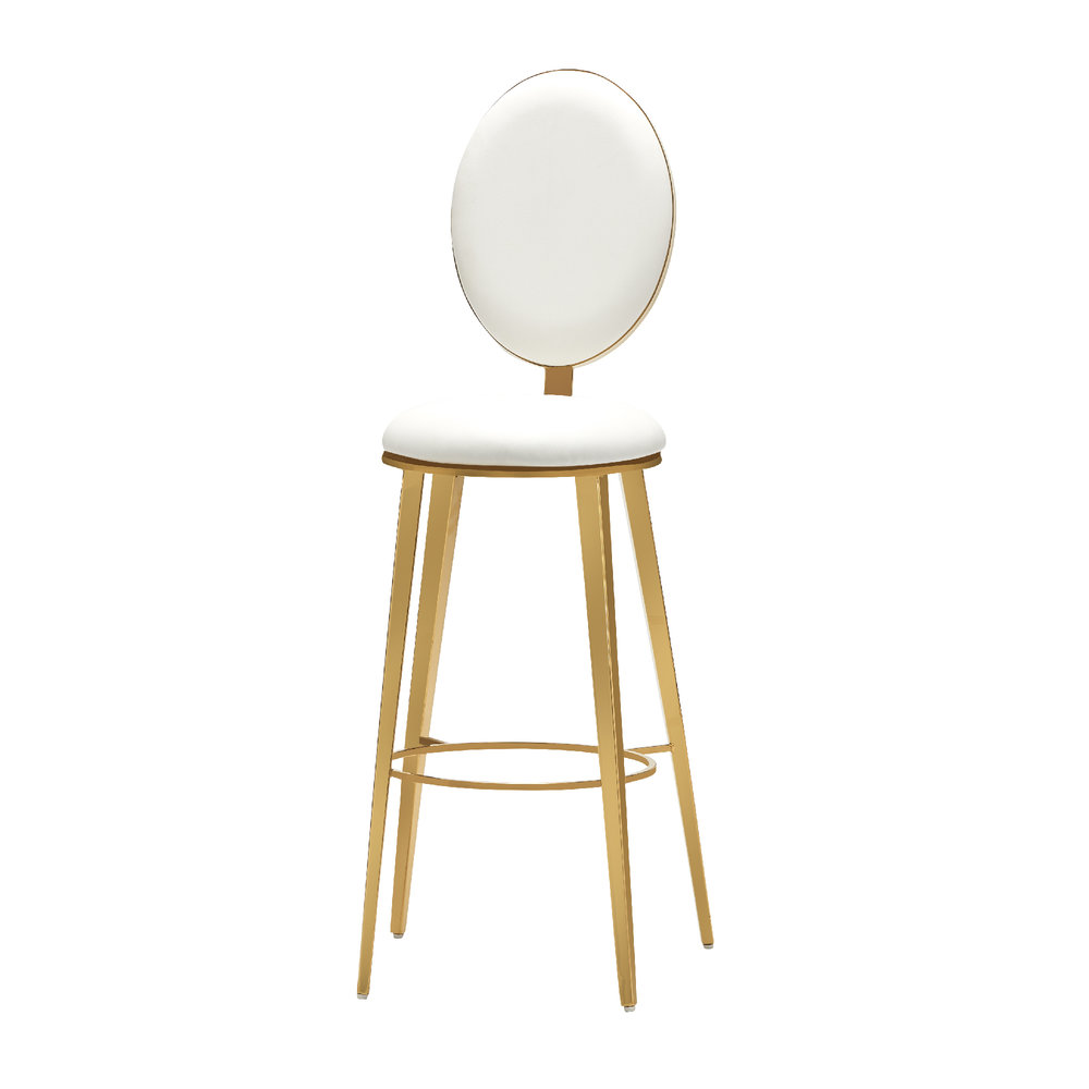 WHITE AND GOLD BAR STOOL