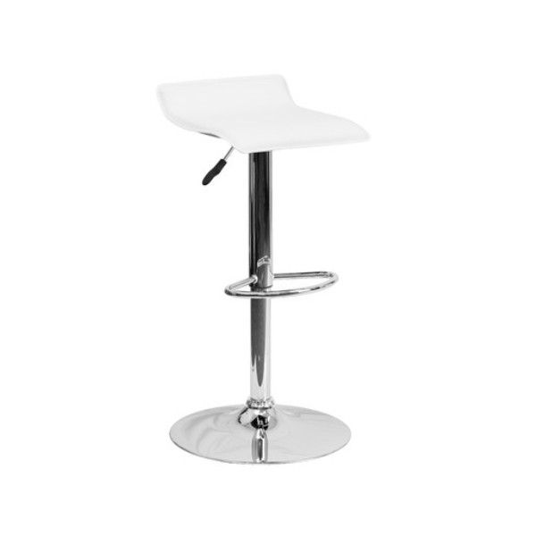 LOW BACK WHITE BAR STOOL -