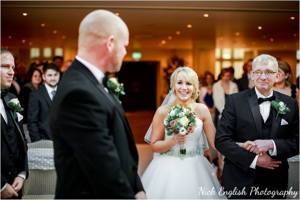 Mitton Hall Wedding Ceremony Bride Groom aisle
