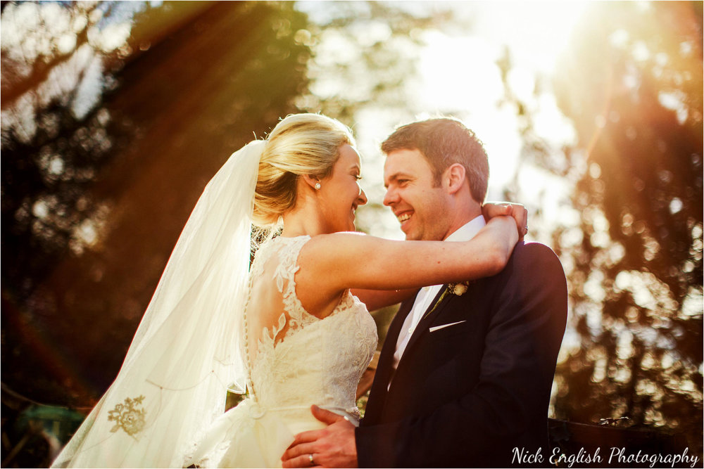 Bride & Groom sunset Mitton Hall
