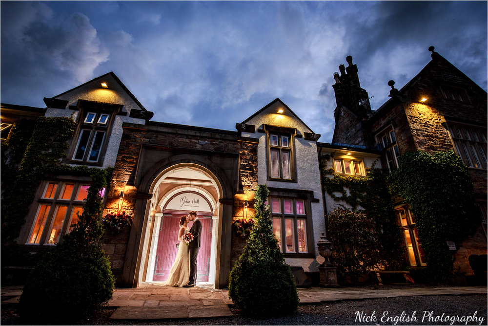 Bride Groom portrait Mitton Hall Wedding Night Photograph