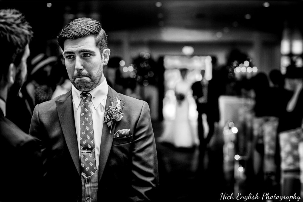 Groom waiting for bride at Mitton Hall Wedding