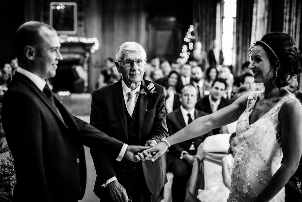 Dad giving daughter away. Wedding Ceremony York Grand Hotel