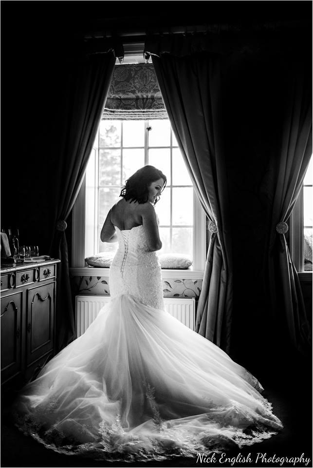 Bride in Dress Bridal Suite Eaves Hall Wedding