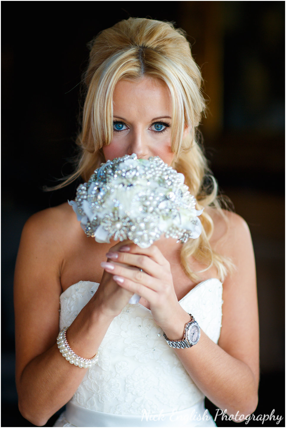Mitton Hall Beautiful Bride before wedding ceremony photograph with flower bouquet