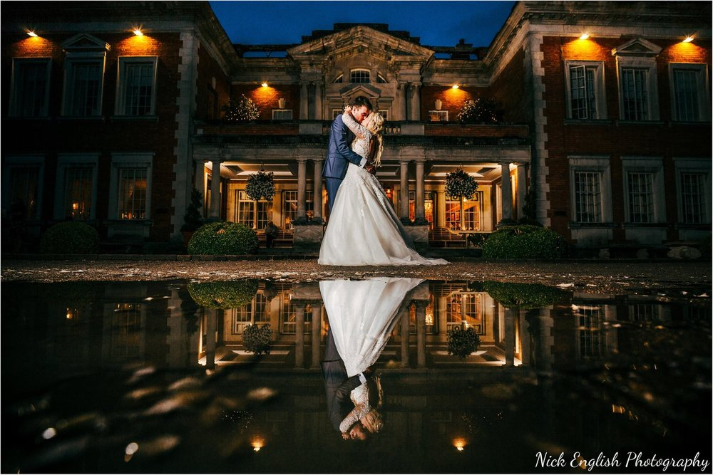Eaves Hall Wedding Photographer Building Lit Up Night
