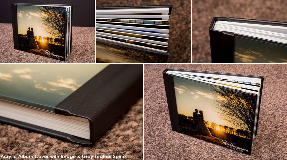 Acrylic Cover with an image and black leather spine
