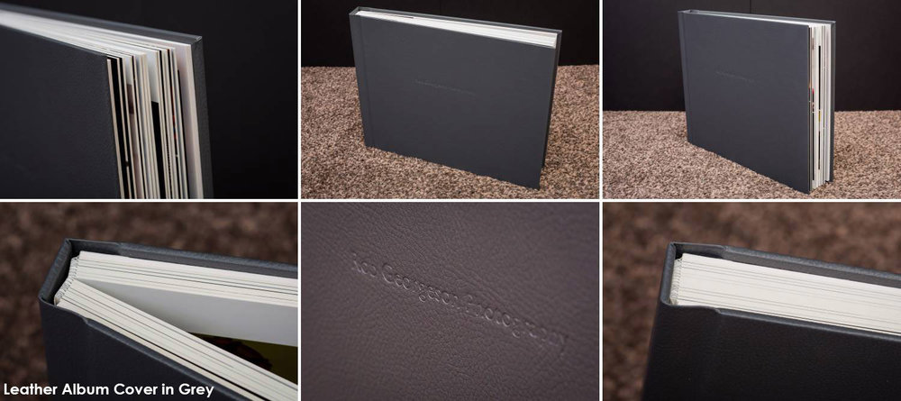 Grey Leather cover with debossed text
