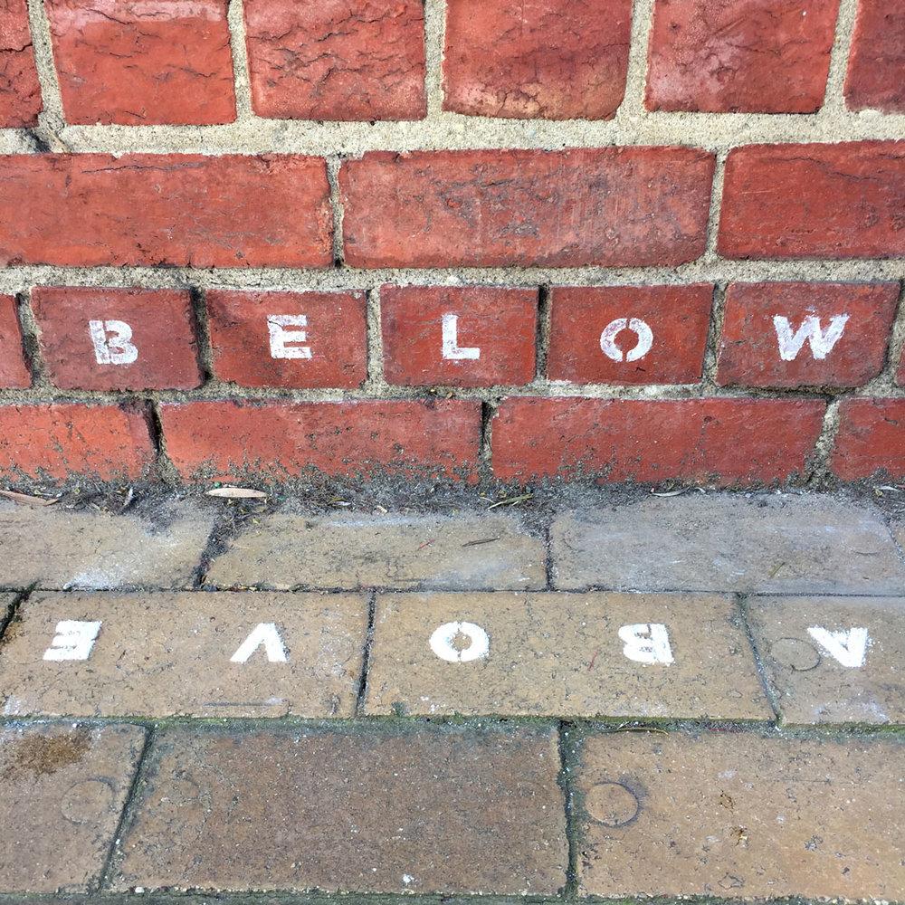 Below Above  (detail), Jessie Stanley, 4/11/2016. Ephemeral lime stencil, Hoffman's brickworks site, Brunswick.