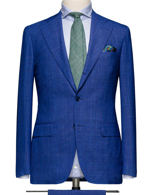 Blue Linen Glenplaid Suit
