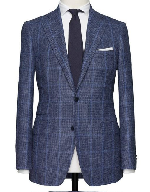 Heather Navy Windowpane Suit