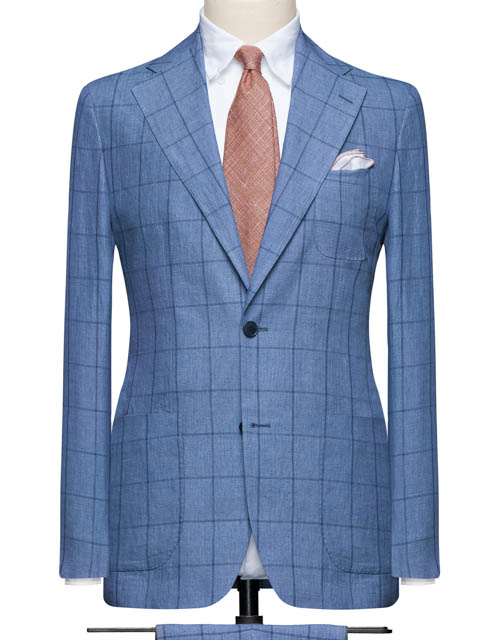 Light Blue Windowpane Suit