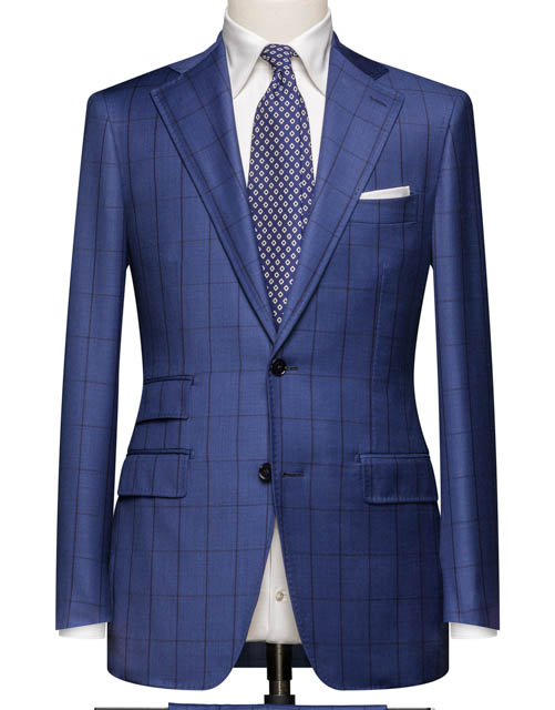 Blue Wool Silk Windowpane Suit