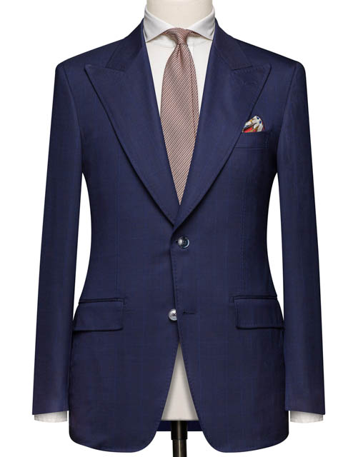 Navy Wide Peak Lapel Suit