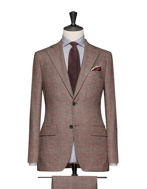 Brown Red Wool Suit