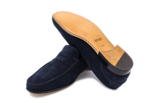0fc120dbf96 Navy Blue Suede Penny Loafer — Hall Madden