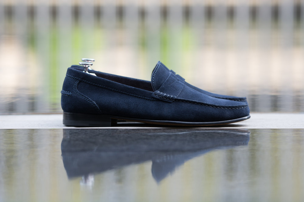 Casual Blue Suede Penny Loafer