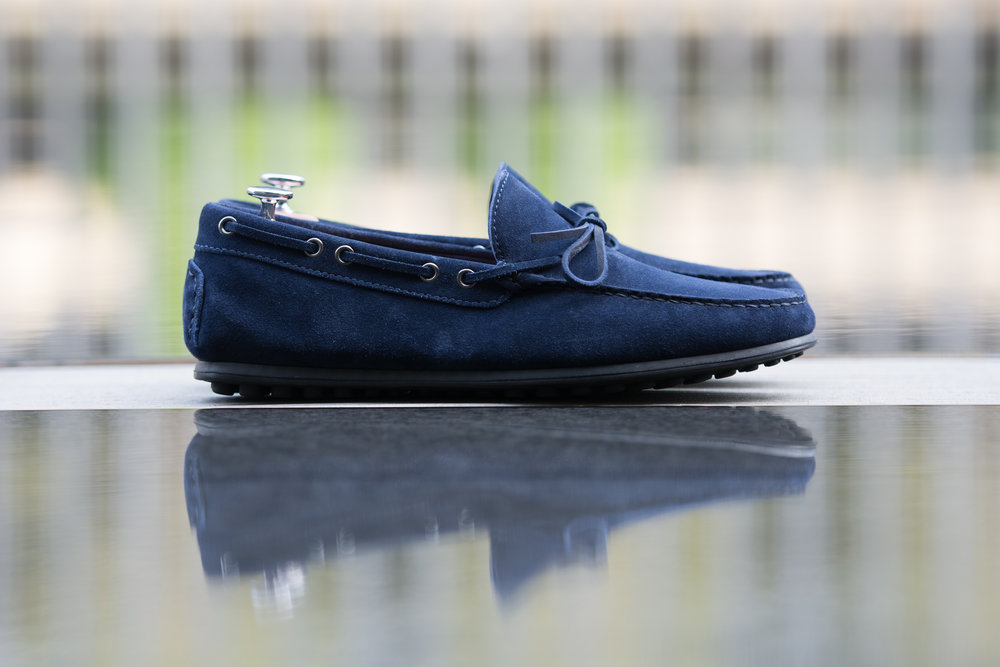 Casual Blue Suede Bowtie Driving Loafer