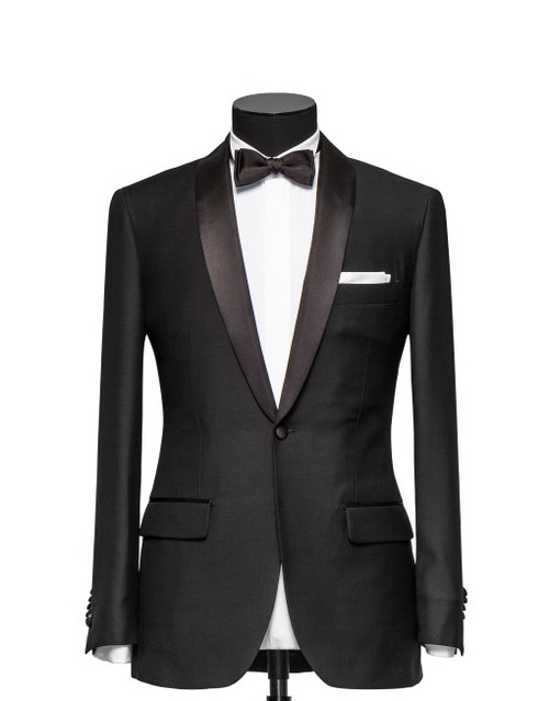 Tuxedo comes in either black or midnight navy Super 130s formal weave wool, milled in Biella, Italy by Vitale Barberis Canonico.  Tuxedo can be made with either peak lapel, shawl collar or even double-breasted.   Customize your tuxedo with your choice of interior liner and pipings and optional monogramming.   Formal dress shirt options include either stud or fly front closure.