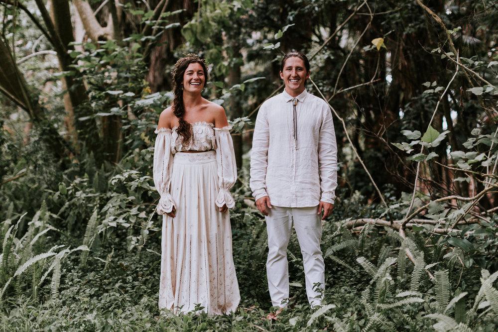 Bride and groom on their wedding day Smiths Lake, NSW Australia